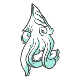 Folklore criatura kraken en movimiento dibujado a mano