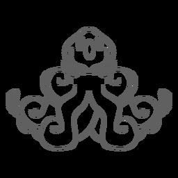 Trazo de sentado de kraken de criatura folclórica