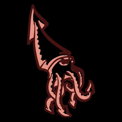 Folclore criatura kraken caminando dibujado a mano Transparent PNG