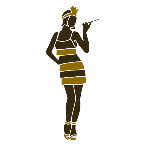 Gángster retro moll fumando Transparent PNG