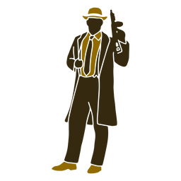 Gangster retro standing left facing
