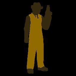 Gángster retro de pie derecho