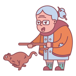 Personagem da avó perseguindo esquilo plano