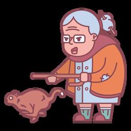 Personaje de la abuela persiguiendo ardilla plana