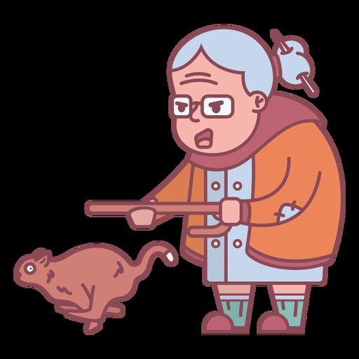 Grandma character chasing squirrel flat
