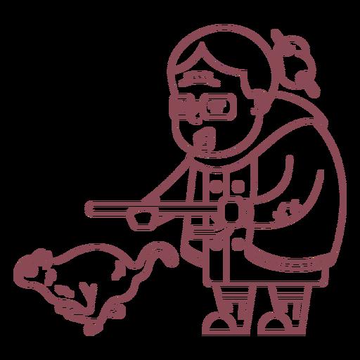 Personaje de la abuela persiguiendo trazo de ardilla