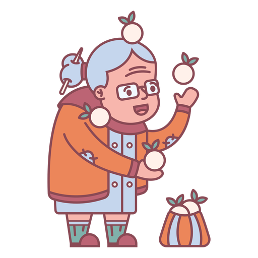 Personaje de la abuela dando golosinas planas.