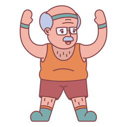 Grandpa character exercising flat