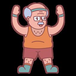 Personaje de abuelo haciendo ejercicio plano