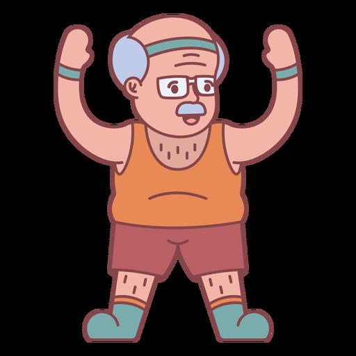 Personagem de vovô exercitando plana Transparent PNG