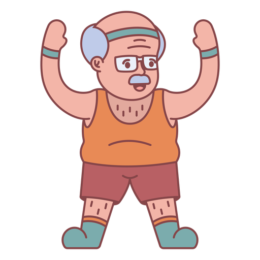 Personaje de abuelo haciendo ejercicio plano Transparent PNG