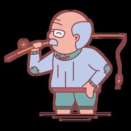 Abuelo personaje de pesca plana
