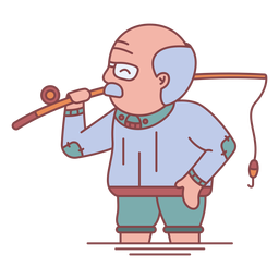 Plano de pesca abuelo personaje