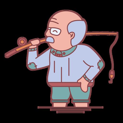 Grandpa character fishing flat Transparent PNG