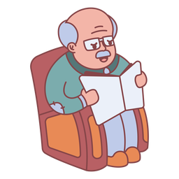Personagem de vovô lendo plana