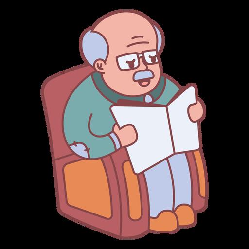 Grandpa character reading flat Transparent PNG