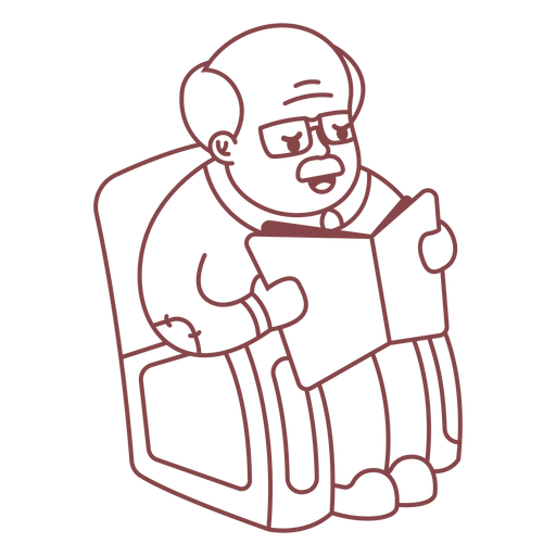 Grandpa character reading stroke Transparent PNG