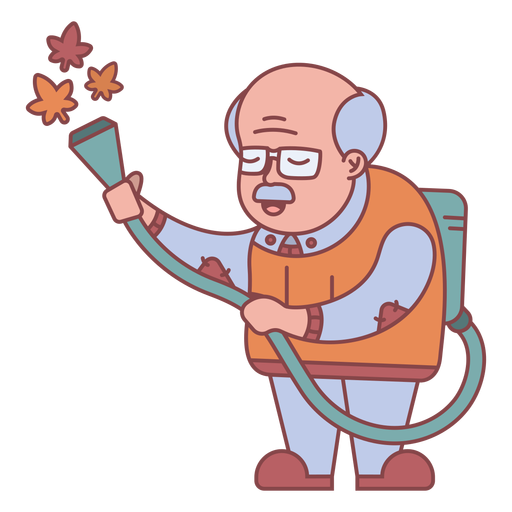 Grandpa character watering plants flat