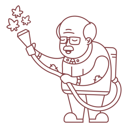 Grandpa character watering plants stroke