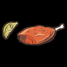 Plato indio pollo al limón dibujado a mano