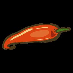 Dibujado a mano plato indio chile rojo