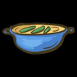 Prato indiano amarelo daal mão desenhada