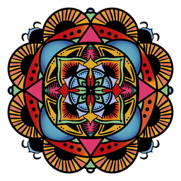 Mão floral circular de mandala indiana desenhada