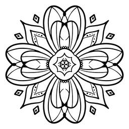 Indian mandala flower stroke