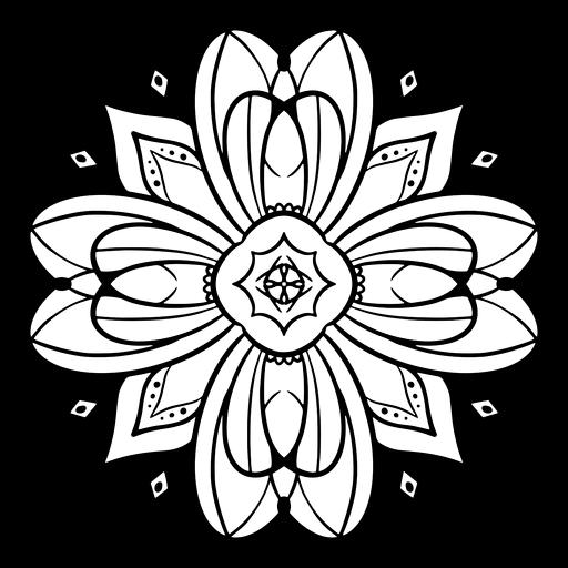 Indian mandala flower stroke Transparent PNG