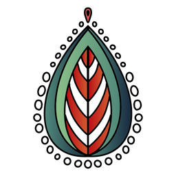 Mandala india hoja tres tonos dibujados a mano