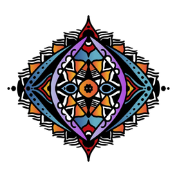 Mão oval mandala indiana desenhada