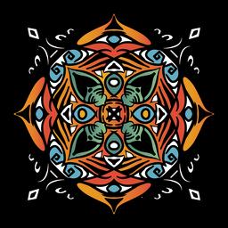 Mandala indiana quadrada complexa mão desenhada