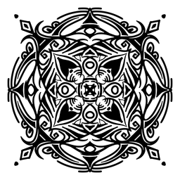 Indian mandala square complex stroke