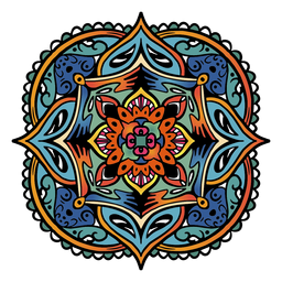 Indian mandala square simple hand drawn