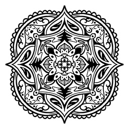 Indian mandala square simple stroke