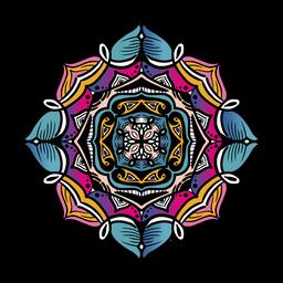 Indian mandala square tilted hand drawn