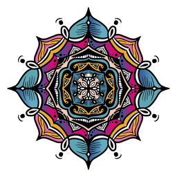 Mandala indio cuadrado dibujado a mano inclinado