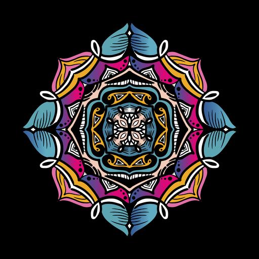 Indian mandala square tilted hand drawn Transparent PNG