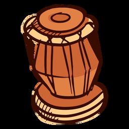 Instrumento musical indio dholak dibujado a mano