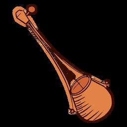Instrumento musical indiano ektar desenhado à mão