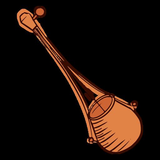 Indian musical instrument ektar hand drawn