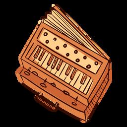 Harmonium de instrumento musical indiano desenhado à mão