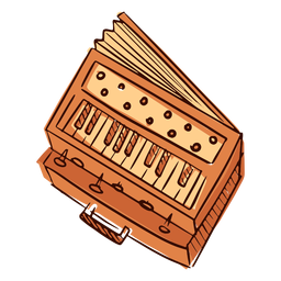Indian musical instrument harmonium hand drawn