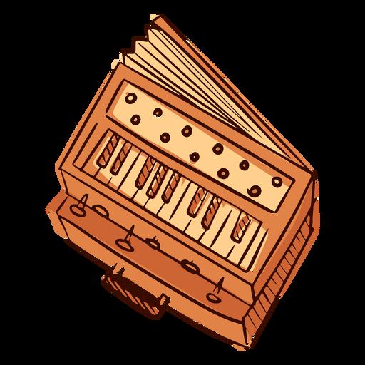 Indian musical instrument harmonium hand drawn