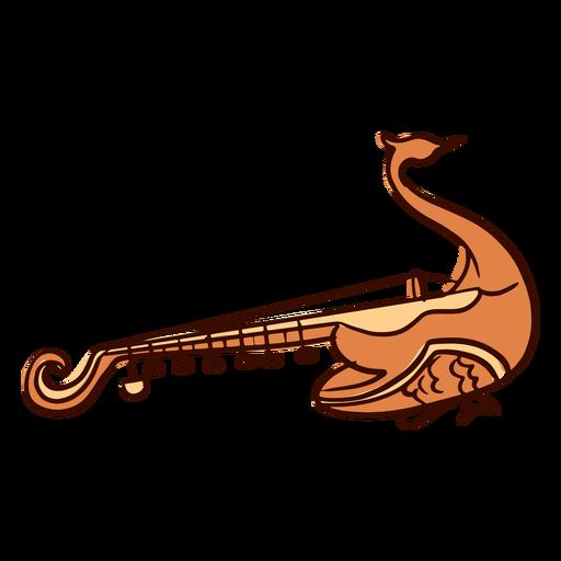 Indian musical instrument mayuri hand drawn