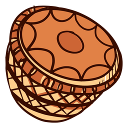 Indian musical instrument mridangam hand drawn