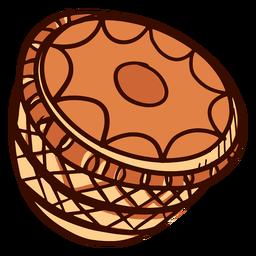 Instrumento musical indio mridangam dibujado a mano