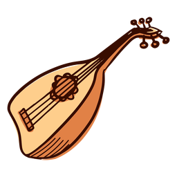 Indian musical instrument pipa hand drawn