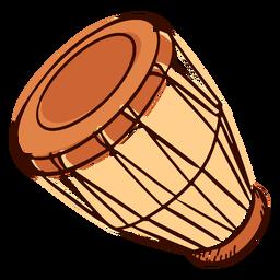 Instrumento musical indiano pongo inclinado mão desenhada