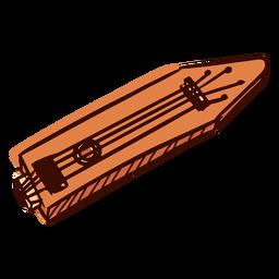 Instrumento musical indiano santoor mão desenhada